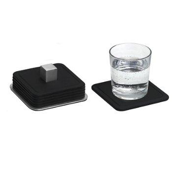 TRAYAN Set 6 Square Coasters (Black) - OPEN BOX RETURN