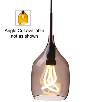 Vessel Pendant (Smoke Grey/Angle Cut/Plumen Bulb) - OPEN BOX