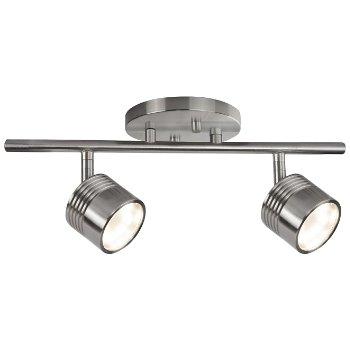 Modern LED Single Fixed Track (Nickel/2 Lights) - OPEN BOX