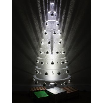 Modern Half Tree - Pearl with Silver Ornaments