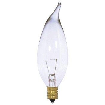 15W 12V CA10 E12 Flame Tip Clear Bulb