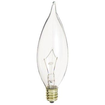60W 120V CA10 E12 Flame Tip Clear Bulb