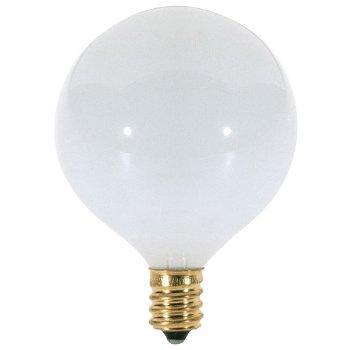 40W 120V G16 1/2 E12 Glossy White Bulb