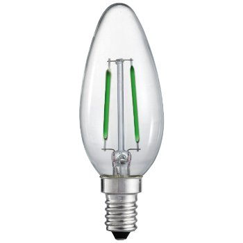 2W 120V C10 E12 Green Filament LED Torpedo
