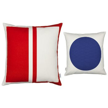 Rectangles/Circle Graphic Pillow (Red/Blue) - OPEN BOX
