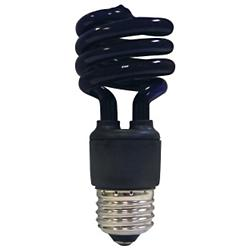 13W 120V T2 E26 Mini Spiral CFL Blacklight Bulb