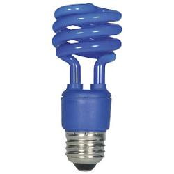 13W 120V T2 E26 Mini Spiral CFL Blue Bulb