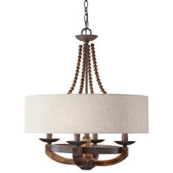 Adan Drum Chandelier (Beige/Rustic Iron) - OPEN BOX RETURN