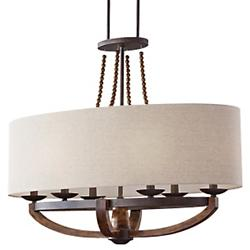 Adan Oval Chandelier (Beige/Rustic Iron) - OPEN BOX RETURN