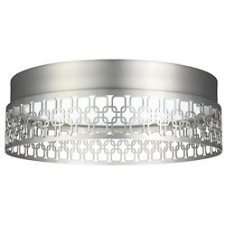 Amani LED Flushmount (Satin Nickel/Link Pattern) - OPEN BOX