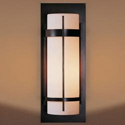 Banded Aluminum Outdoor Sconce (Small/Iron/Opal) - OPEN BOX