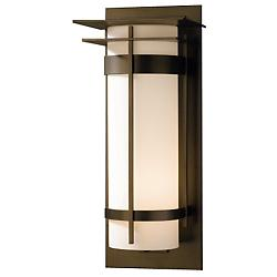 Banded Extra Large Aluminum Outdoor Wall Sconce with Top Plates