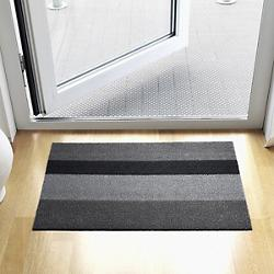 Bold Stripe Shag Door Mat (Silver/Black) - OPEN BOX RETURN