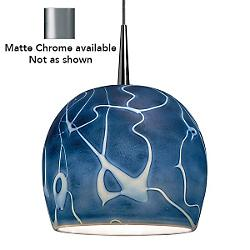 Delta Pendant (Blue/Matte Chrome/4in Canopy) - OPEN BOX