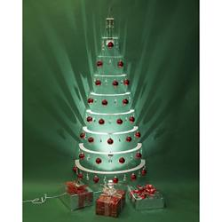 Modern Half Tree - Pearl with Red Ornaments