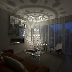 Modern Tree - Pearl with Silver Ornaments