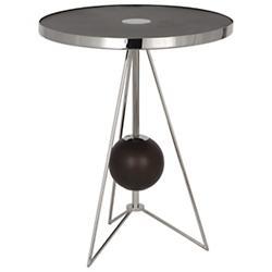 Ojai Side Table (Polished Nickel/Dark Walnut) - OPEN BOX