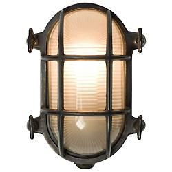 Oval Bulkhead Weathered Brass Outdoor Wall Sconce