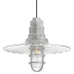 Radial Wave Outdoor Pendant w/ Cast Guard & Clear Glass