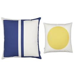 Rectangles/Circle Graphic Pillow (Blue/Mustard) - OPEN BOX