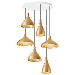 Swell 6 Brass Multi-Light Pendant