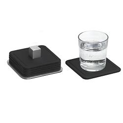 TRAYAN Set 6 Square Coasters (Black) - OPEN BOX RETURN