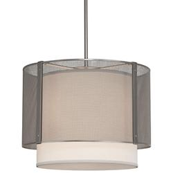 Uptown Mesh Drum Pendant with Fabric Shade