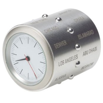 World Time Clock Stainless Steel