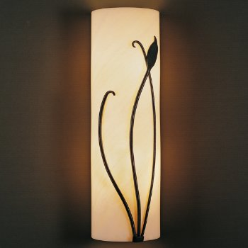 Forged Leaf and Stem Wall Sconce w/Faux Alabaster
