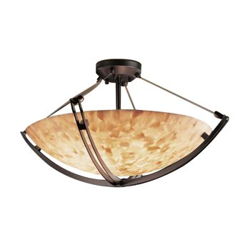 Alabaster Rocks! Semi-Flush Bowl with Crossbar -Small
