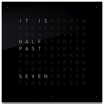 qlocktwo wall clock by biegert and funk at. Black Bedroom Furniture Sets. Home Design Ideas