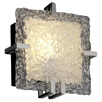 Veneto Glass Clips Square Wall Sconce