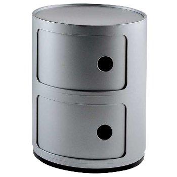 Componibili Round Storage Modules (Silver/2 Hi) - OPEN BOX RETURN