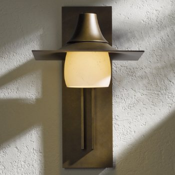 Hood Outdoor Tall Wall Sconce with Glass