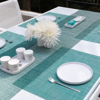 Lattice Table Runner (Aqua) - OPEN BOX RETURN
