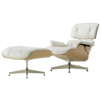 Eames Lounge Chair and Ottoman - White Ash