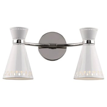 Havana Double Wall Sconce (White/Polished Nickel) - OPEN BOX