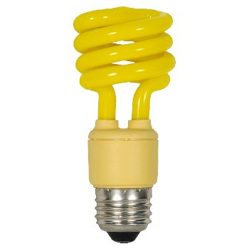 13W 120V T2 E26 Mini Spiral CFL Yellow
