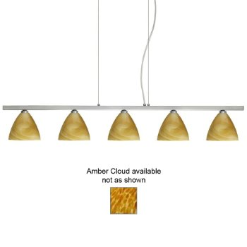 Mia Linear Suspension (Amber Cloud/Satin Nickel/5 Lights) - OPEN BOX RETURN