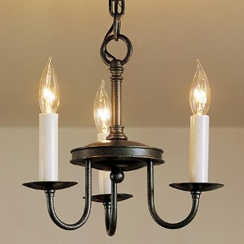 Traditional Three Arm Foyer Chandelier- Large (Natural Iron) - OPEN BOX RETURN