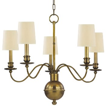 Cohasset Chandelier (Cream/Aged Brass/5 Lights) - OPEN BOX RETURN