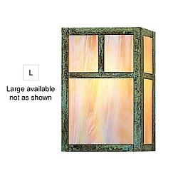 Mission Flush Wall Sconce (Patina/White Opal/Lg) - OPEN BOX