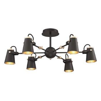 Shown in Black/Brass finish, 6 Light Option