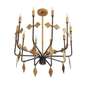 Shown in Antique Brass and Black finish, lit