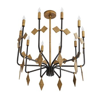 Shown in Antique Brass and Black finish, unlit