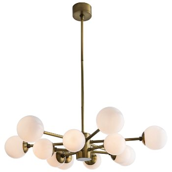 Shown in Antique Brass with Opal Glass