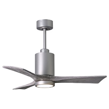 Shown in Brushed Nickel Finish, Barn Wood Tone Blades, 52 inch