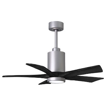 Shown in Barn Wood Fan Blade Finish, Matte Black finish, 52 Inch, lit
