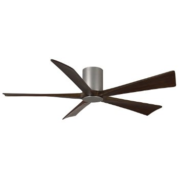 Shown in Brushed Nickel finish with Walnut blades, 60 inch without light cap