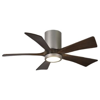 Shown in Brushed Nickel finish with Walnut blades, 42 inch with light cap